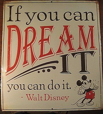 Vintage Style Walt Disney Mickey Mouse  Embossed Metal Sign  If You Can Dream It