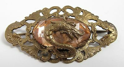 Vintage Antique Brass True Art Nouveau Serpent Snake Pink Peach Stone Pin Brooch
