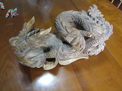 Heavily Carved Wooden Dragon