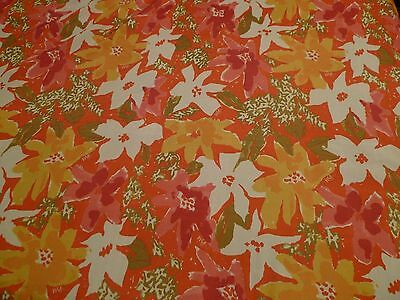 Vera 72 in. Round Floral Tablecloth Town & Country Living Pink Orange Green Vtg.