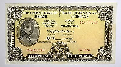 1975 THE CENTRAL BANK OF IRELAND £5 POUND NOTE P. 65c - VF