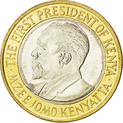 [#88172] KENYA, 10 Shillings, 2010, KM #35.2, MS(63), Bi-Metallic, 23, 4.90