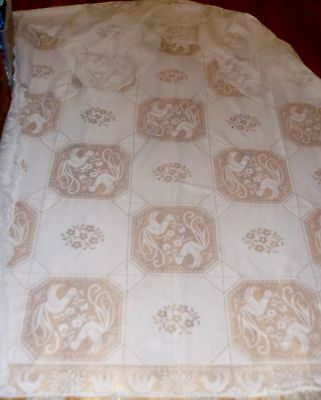 """DANSING Peacocks Lace Poly Figural Tablecloth Throw 96"""" X60"""" Peacocks Border SEE"""