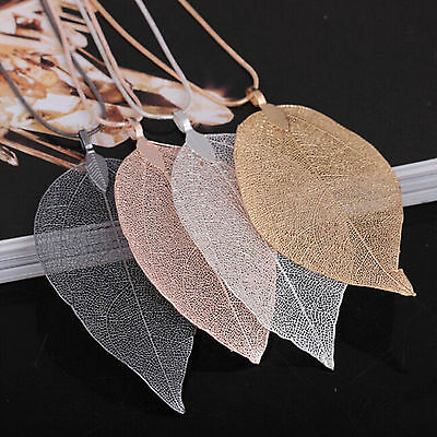 Women Special Leaves Leaf Sweater Pendant Necklace Ladies Long Chain Jewelry