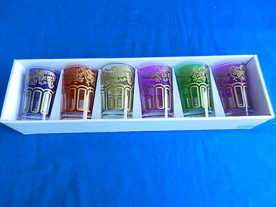HARLEQUIN SET of 6 Colored GLASS TUMBLERS with Gilt Decoration