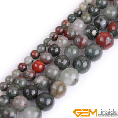 """Natural Africa Bloodstone Gemstone Round Beads For Jewelry Making Strand 15"""""""