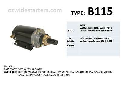 Evinrude / Johnson starter motor suits 50hp-75hp from 1969-1997