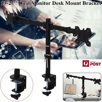 "13-27"" Dual LED Desk Mount Monitor Stand Bracket  Two LCD Screen TV Black Color"