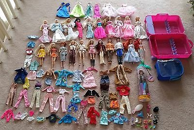 Lot of 22 Barbies Disney princesses dolls + tons Accessories + Take-along Trunk