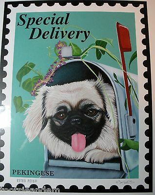 Retro Pets Pekingese Art Print 8x10 New by Krista Brooks