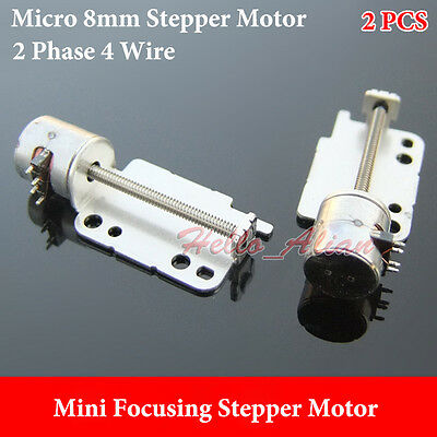 2pcs Micro 8mm Mini Stepper Motor 2-phase 4-wire Precision Linear Screw shaft