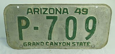 Super Vintage 1949 Arizona License Plate Waffle Pattern Aluminum Green Paint