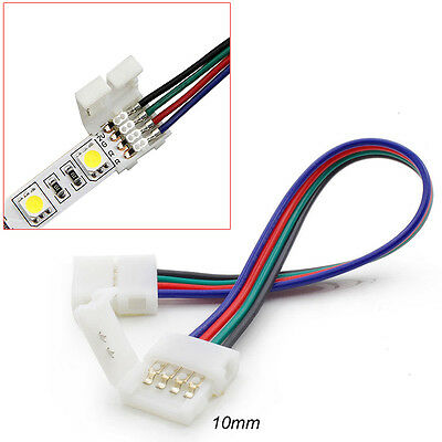 10-100PCS 4Pin RGB Connectors with Cable For 5050 SMD RGB LED Strip Lights