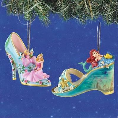 DISNEY AURORA & ARIEL Once Upon A Slipper Ornament Collection NEW