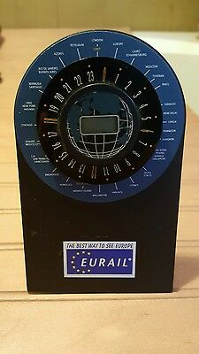 """EURAIL World Timer - 5 """" With Snap-on bottom to stand on desk or nightstand!"""