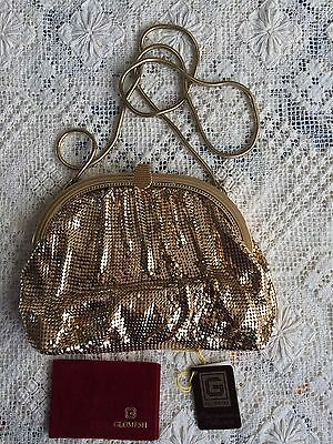 Genuine Vintage Glomesh Evening Bag  - GOLD   - NEW - With Mirror