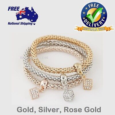 High Quality Gold Plated Crystal Chain Bracelets Bangles Charm Bracelet+ Pendant