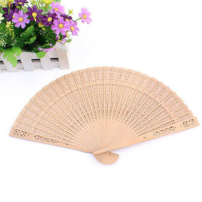 Vintage Hollow Carved Wood Folding Hand Fan Ladies Outdoor Wedding Party Favours