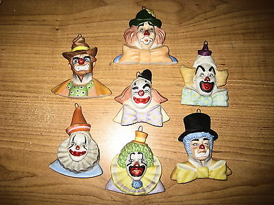 Vintage 1987 Reco Clown Hang-Up Collection Bust Figurine (Lot of 7)