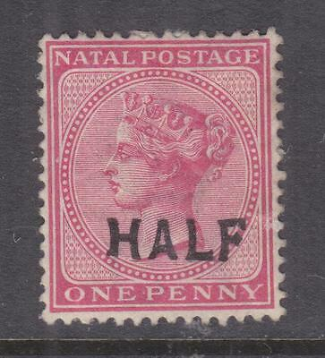 NATAL, 1895 HALF on 1d. Rose, variety short leg to left H, lhm.