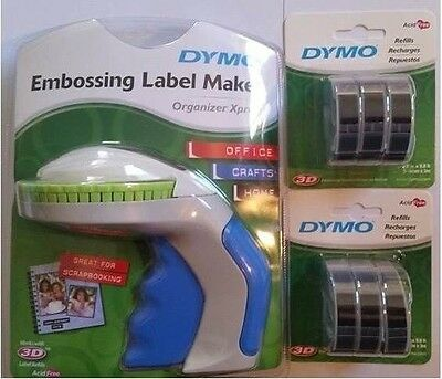 Dymo Xpress Tapewriter Package: Embossing Label Maker + 6 Black Tapes  #
