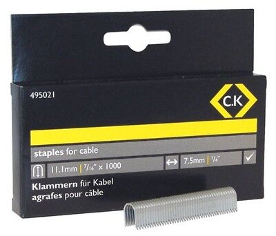 495021 C.K Cable staples 7.5mm wide x 11.1mm deep Box Of 1000