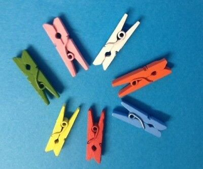 25 Miniature Coloured Wooden Pegs Card Making Scrapbooking Craft Embellishments