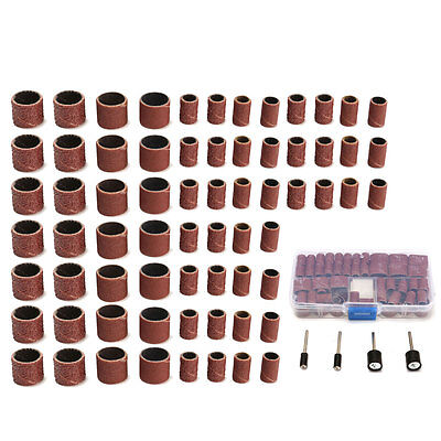 104Pcs Sanding Bands Drums Sleeves 60 120 320 Grits+4 Mandrels For Rotary Tools
