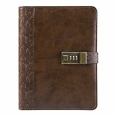SAIBANG Leather Journal Writing Notebook Vintage Bound Daily Notepad with Lock