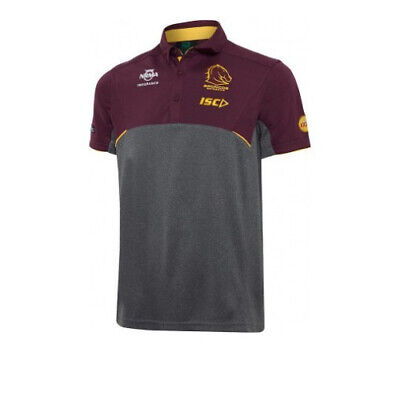 Brisbane Broncos NRL 2017 Players ISC Media Polo Shirt Size SMALL & MEDIUM ONLY!