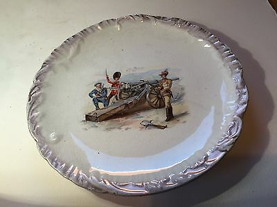 Ceramic Military Plate With Gun and Soldiers - celebrating the Boer War