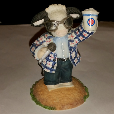 NEW Chicago Cubs Mary Moos Holy Cow Figurine Beer Harry Caray Glasses Microphone