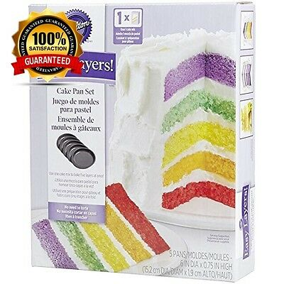 Wilton Easy Layer 6 inch Rainbow Colours Cake Baking Pan Set Non Stick Set of 5