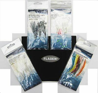 Fladen 10 Pocket Rig Bag Wallet & Feather And Lure Selection