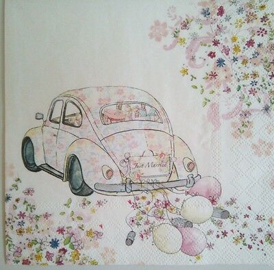 4 Paper Napkins , use for decoupage.Just married .Servilletas coche vintage