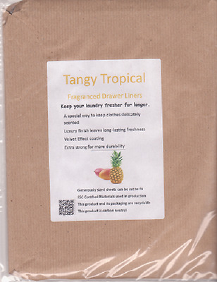 NEW!! TROPICAL Fragrance Scented Drawer Liners 5 Pack FREE P&P UK Seller
