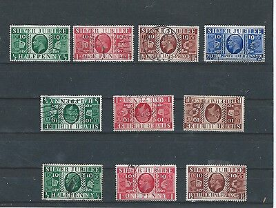 1935 Gb Kgv Silver Jubilee Issue Excellent Full Type I; Ii;  Iii Collection Vfu