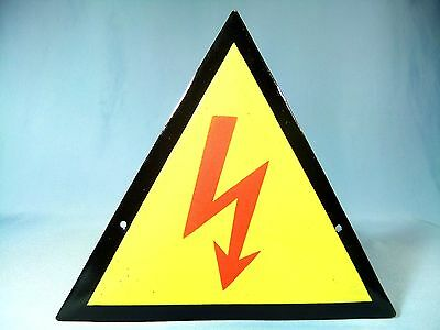 VTG INDUSTRIAL~WARNING-HIGH VOLTAGE PORCELAIN ENAMEL METAL SIGN PLATE ca.1960's