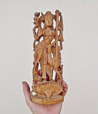 Large Carved Wooden Hindu Icon - Four Armed Goddess Shrine - Detailed