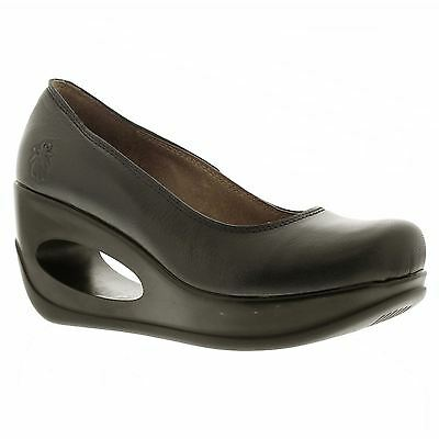 Fly London HUBO 068 Graphite Womens Wedge Heel Shoes Sandals
