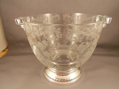 Vintage Cambridge Glass Chantilly Ice Bucket w Sterling Silver Base