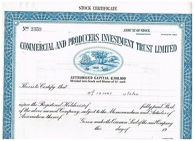 Commercial and Producers Investment Trust, 19xx, specimen