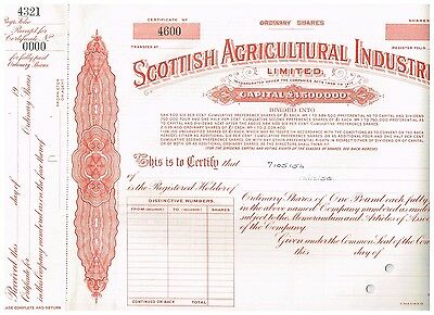 Scottish Agricultural Industries Ltd.,  19xx, specimen