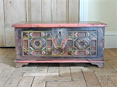 Gorgeous Antique Moroccan Oriental Hand Carved Solid Wood Chest/ Coffee table