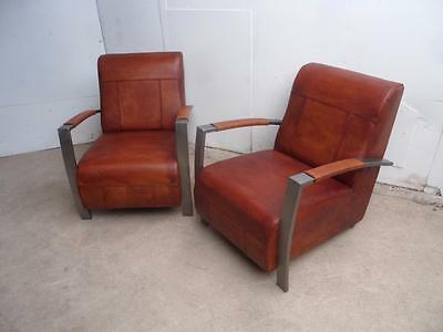 A Classic Pair of  Art Deco Style Chrome & Leather Arm Chairs