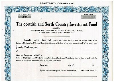 Scottish and North Country Investment Fund, 19xx, specimen