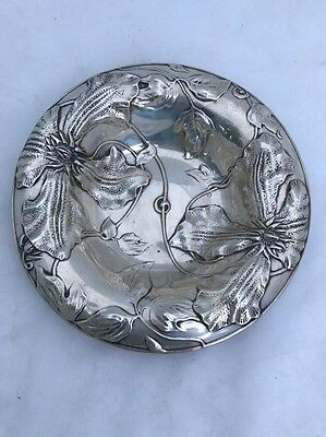 "BOWL REPOUSSE FLOWERS Sterling Silver Clematis  vine Beautiful 6 1/2"" DISH"