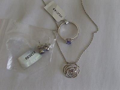 Tanzanite Ring / Earrings / Necklace Sterling Silver