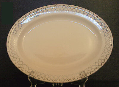 Edwin Knowles Medium Sized Oval Serving Platter Gold Trim Rim Ivory Base KNO256