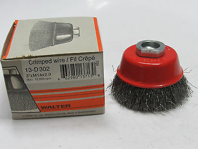 "new WALTER 13D302, 3"" x .0118"" Gauge Crimped Wire Cup Brush, M14 x 2.0 Arbor"